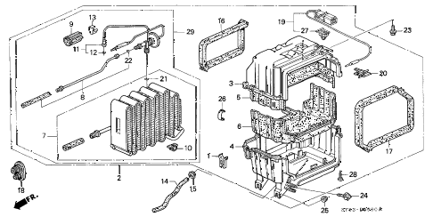 1997 CL PRE2.2 2 DOOR 5MT A/C COOLING UNIT diagram