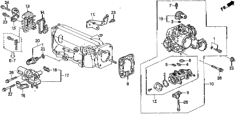 1997 CL PRE2.2 2 DOOR 5MT THROTTLE BODY (1) diagram