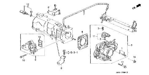 1998 CL BAS2.3 2 DOOR 4AT THROTTLE BODY (2) diagram