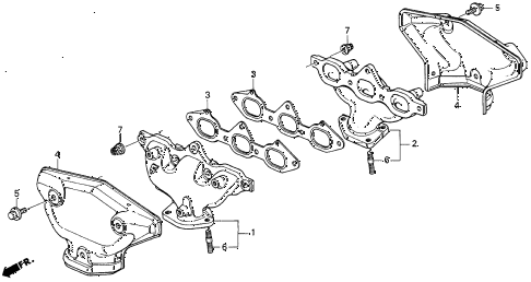 1998 CL BAS3.0 2 DOOR 4AT EXHAUST MANIFOLD (2) diagram