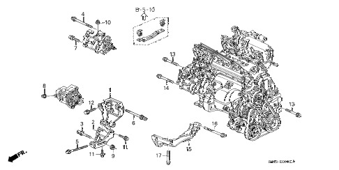 1998 CL BAS2.3 2 DOOR 5MT ALTERNATOR BRACKET (1) diagram