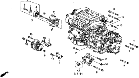 1997 CL BAS3.0 2 DOOR 4AT ALTERNATOR BRACKET (2) diagram
