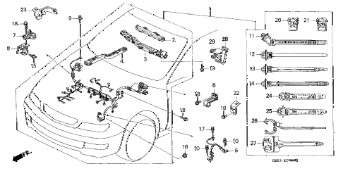 1998 CL BAS2.3 2 DOOR 5MT ENGINE WIRE HARNESS (1) diagram