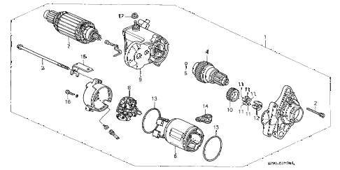 1998 CL PRE2.3 2 DOOR 5MT MT STARTER MOTOR (1) diagram