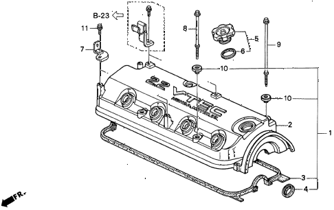 1998 CL PRE2.3 2 DOOR 5MT CYLINDER HEAD COVER (1) diagram