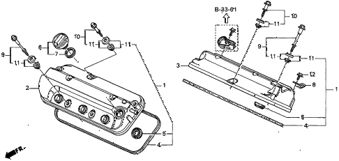 1997 CL BAS3.0 2 DOOR 4AT CYLINDER HEAD COVER (2) diagram