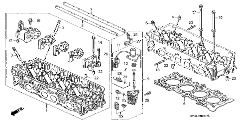 1997 CL PRE2.2 2 DOOR 4AT CYLINDER HEAD diagram