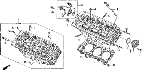 1998 CL BAS3.0 2 DOOR 4AT FRONT CYLINDER HEAD diagram
