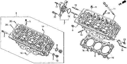 1997 CL BAS3.0 2 DOOR 4AT REAR CYLINDER HEAD diagram