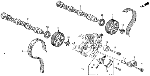 1998 CL BAS3.0 2 DOOR 4AT CAMSHAFT - TIMING BELT (2) diagram