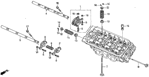 1997 CL BAS3.0 2 DOOR 4AT VALVE - ROCKER ARM (FR.) diagram