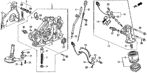 1997 CL BAS3.0 2 DOOR 4AT OIL PUMP - OIL STRAINER (2) diagram