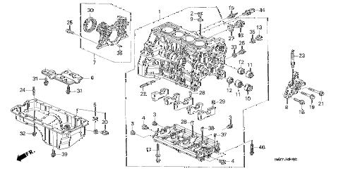 1998 CL PRE2.3 2 DOOR 4AT CYLINDER BLOCK - OIL PAN (3) diagram
