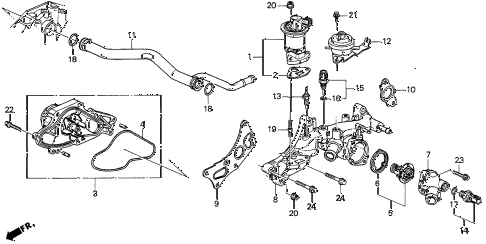 1997 CL BAS3.0 2 DOOR 4AT WATER PUMP - SENSOR (2) diagram