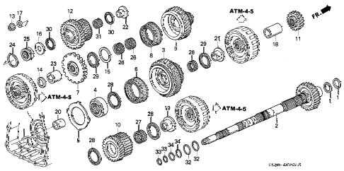 1999 RL 4 DOOR 4AT AT COUNTERSHAFT diagram