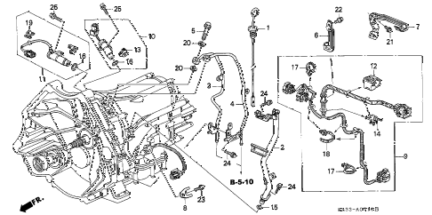 1998 RL PREM 4 DOOR 4AT AT OIL LEVEL GAUGE - HARNESS diagram