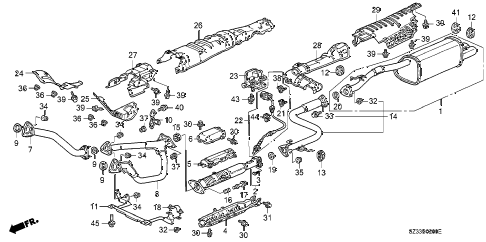 1998 RL PREM 4 DOOR 4AT EXHAUST PIPE diagram