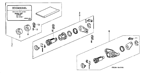 1998 RL BASE 4 DOOR 4AT KEY CYLINDER KIT diagram