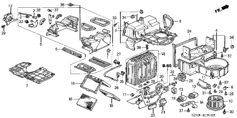 1998 RL BASE 4 DOOR 4AT HEATER BLOWER diagram
