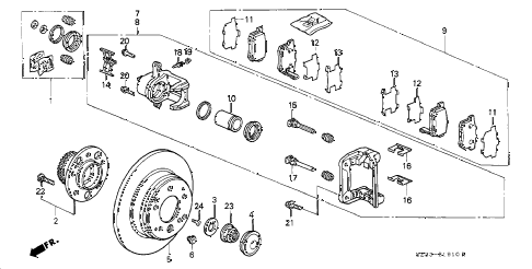 2002 RL 4 DOOR 4AT REAR BRAKE CALIPER diagram