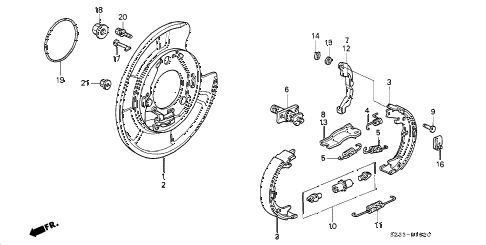 1999 RL 4 DOOR 4AT PARKING BRAKE SHOE diagram