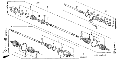 2002 RL 4 DOOR 4AT DRIVESHAFT (2) diagram