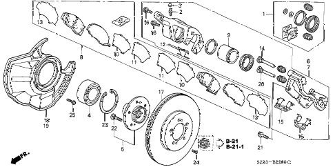 2002 RL 4 DOOR 4AT FRONT BRAKE diagram