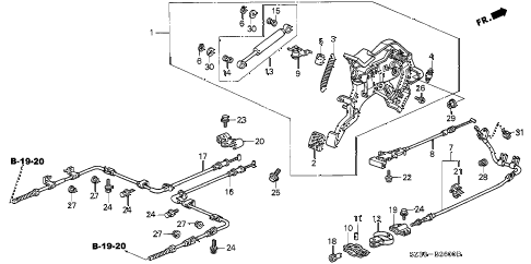 1998 RL BASE 4 DOOR 4AT PARKING BRAKE diagram
