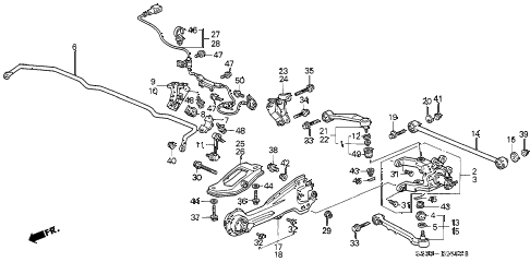 2002 RL 4 DOOR 4AT REAR LOWER ARM diagram