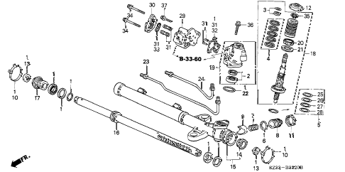 1998 RL PREM 4 DOOR 4AT P.S. GEAR BOX COMPONENTS (1) diagram