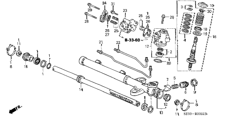 1999 RL 4 DOOR 4AT P.S. GEAR BOX COMPONENTS (2) diagram