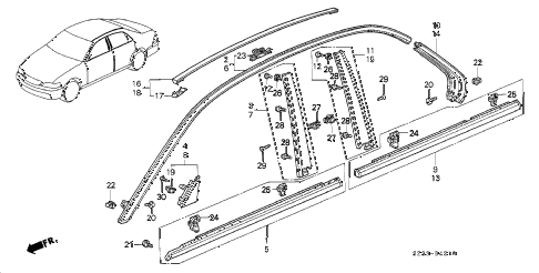 1998 RL PREM 4 DOOR 4AT MOLDING diagram