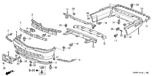 2002 RL 4 DOOR 4AT BUMPER (2) diagram