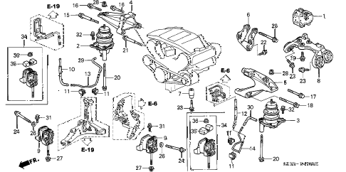 1998 RL PREM 4 DOOR 4AT ENGINE MOUNT diagram