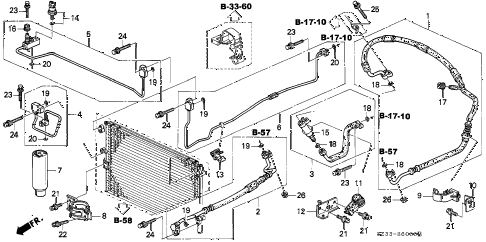 1998 RL PREM 4 DOOR 4AT A/C HOSES - PIPES diagram