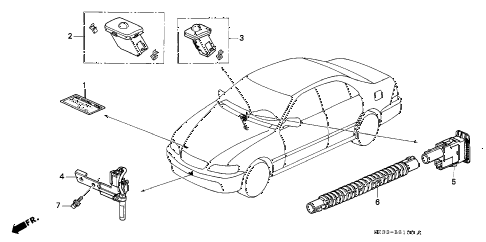 1998 RL PREM 4 DOOR 4AT SENSOR diagram