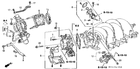 1998 RL PREM 4 DOOR 4AT THROTTLE BODY diagram