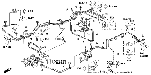 1998 RL BASE 4 DOOR 4AT INSTALL PIPE - TUBING diagram