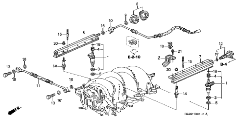 1998 RL BASE 4 DOOR 4AT FUEL INJECTOR diagram