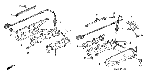 1998 RL PREM 4 DOOR 4AT EXHAUST MANIFOLD diagram
