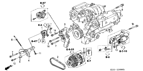 1998 RL PREM 4 DOOR 4AT ALTERNATOR BRACKET diagram