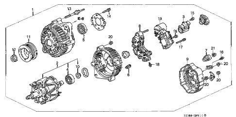 1999 RL 4 DOOR 4AT ALTERNATOR (DENSO) diagram