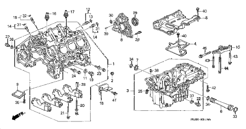 1998 RL PREM 4 DOOR 4AT CYLINDER BLOCK - OIL PAN diagram