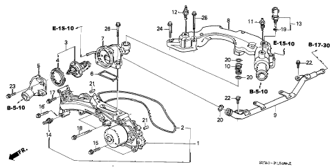 1998 RL BASE 4 DOOR 4AT WATER PUMP - SENSOR diagram