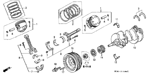 1999 RL 4 DOOR 4AT PISTON - CRANKSHAFT diagram