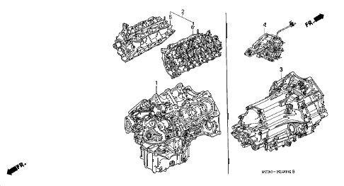 2002 RL 4 DOOR 4AT ENGINE ASSY. - TRANSMISSION ASSY. diagram
