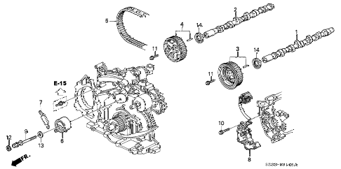 2004 RL 4 DOOR 4AT CAMSHAFT - TIMING BELT diagram
