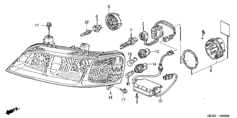 2004 RL 4 DOOR 4AT HEADLIGHT diagram