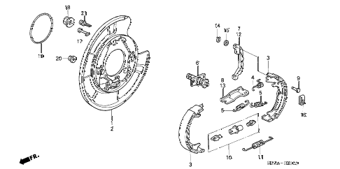2004 RL 4 DOOR 4AT PARKING BRAKE SHOE diagram