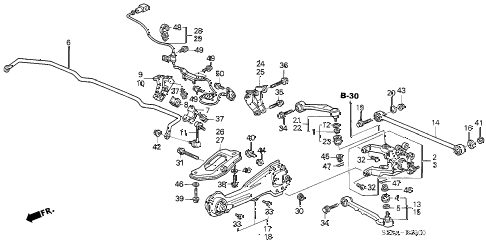 2004 RL 4 DOOR 4AT REAR STABILIZER - REAR LOWER ARM diagram